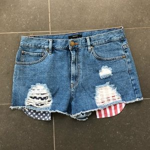 Forever21 American flag distressed denim shorts